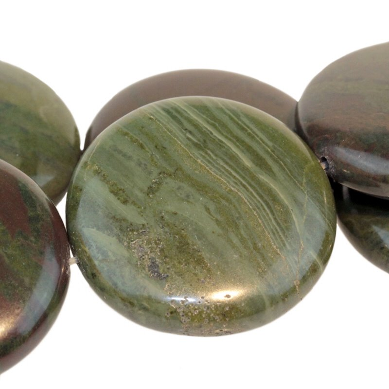s54944 Stone Beads - 30 mm Coin - African Green Jasper