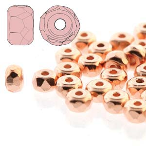 s54982 Czech Firepolish Glass - 2 x 3 mm Faceted Micro Spacer Rondelle - Copper Plated
