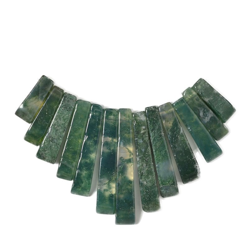 s55400 Stone Beads - Graduated Fan - Moss Agate (Set)