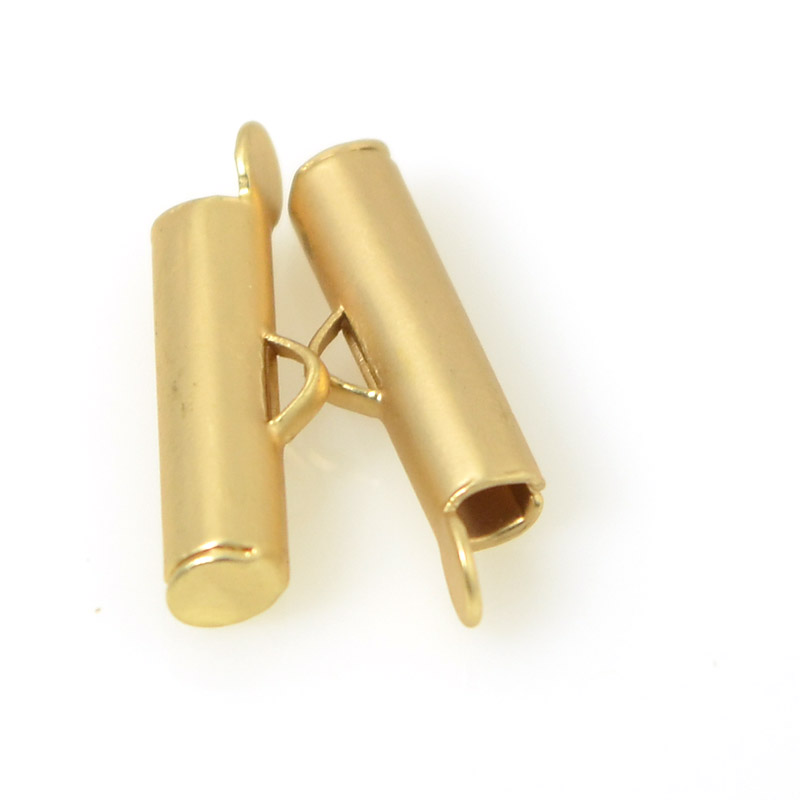 s55495 Findings - 16 mm Tube End Connector - Satin Hamilton Gold (Pair)