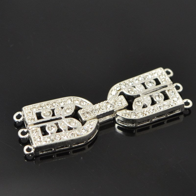 s55503 Findings - Fold Over Clasp - 3 Strand D with Rhinestones - Bright Silver