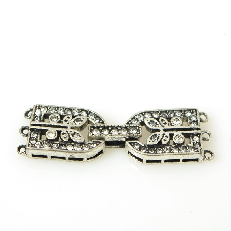 s55504 Findings - Fold Over Clasp - 3 Strand D with Rhinestones - Antiqued Silver