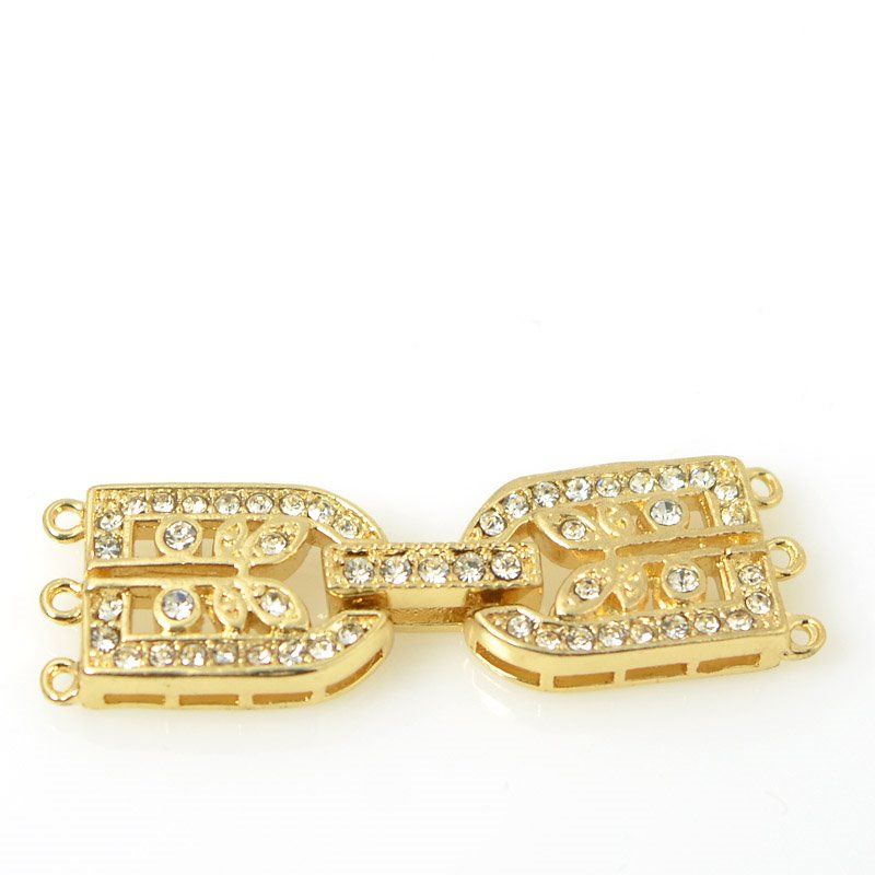 s55505 Findings - Fold Over Clasp - 3 Strand D with Rhinestones - Bright Gold Plated