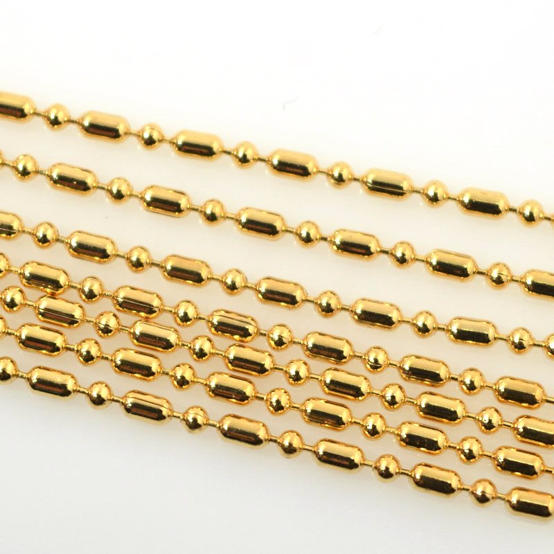 s55515 Chain - 2 mm Dot Dash Ball Chain - Bright Gold Plated (foot)