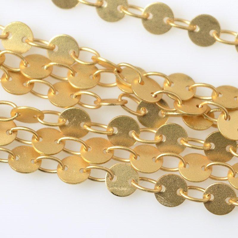 s55516 Chain - 4 mm Round Disc Chain - Satin Hamilton Gold (foot)