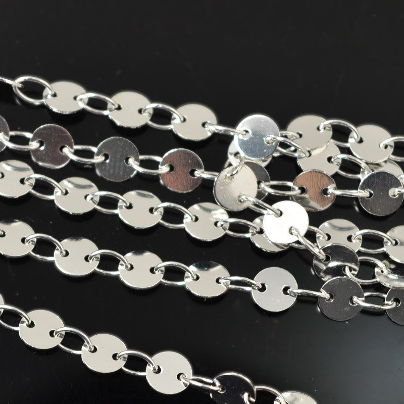 s55517 Chain - 4 mm Round Disc Chain - Bright Silver (foot)