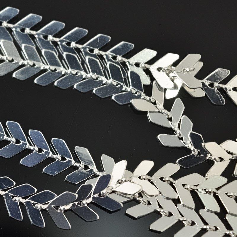 s55518 Chain - 6.5 mm Chevron Chain - Bright Silver (foot)