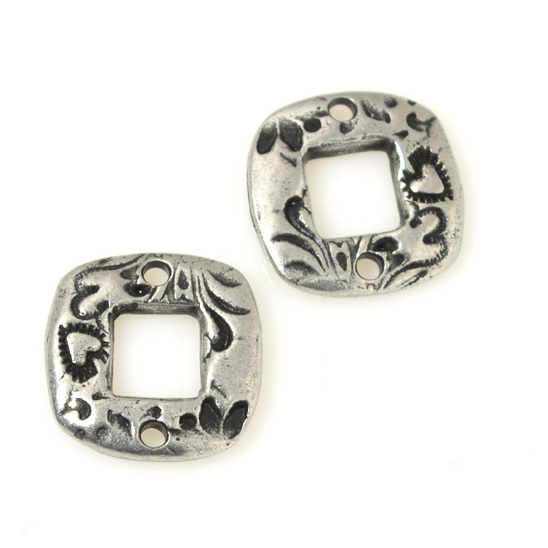 s55570 Findings - Link - 15 mm Flora Square Connector - Antiqued Pewter