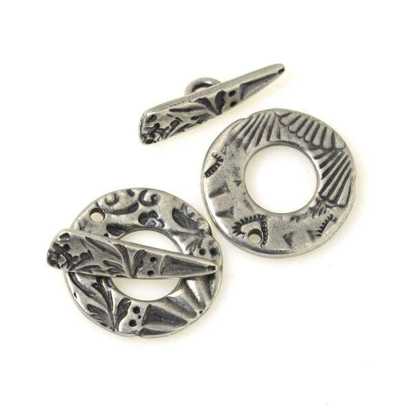 s55574 Findings - Toggle Clasp - Flora Circle - Antiqued Pewter