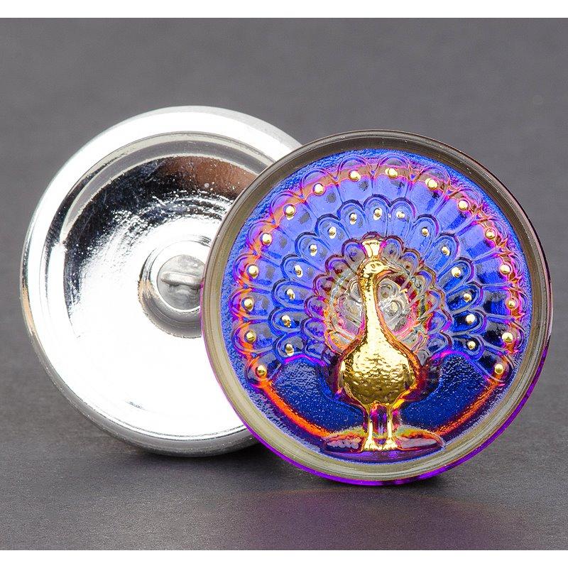 s55595 Czech Glass Button - 33 mm Magnificent Peacock - Hello Vegas