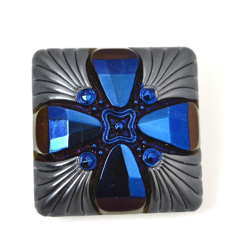 s55599 Czech Glass Button - Square Deco Cross - Royal Nights