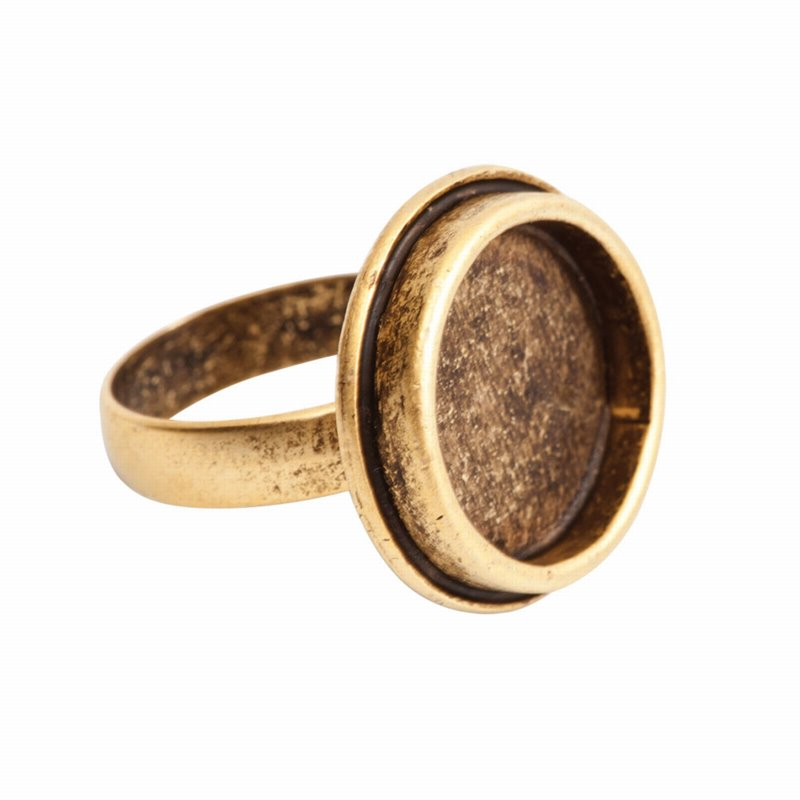s55866 Finding - ID 17mm Traditional Round Ring - Antique Gold
