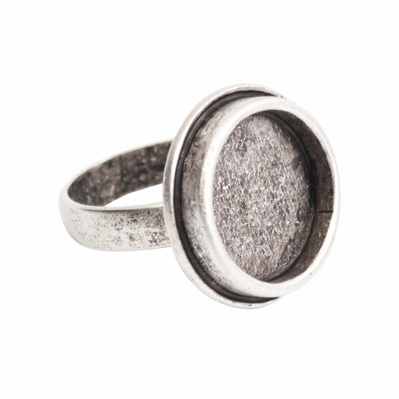 s55867 Finding - ID 17mm Traditional Round Ring - Antiqued Silver