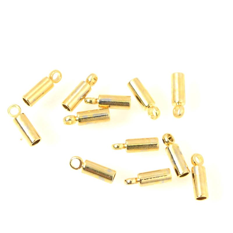 s55884 Finding - ID 1 mm End Cap with Loop for Beading Chain - Bright Gold Plated (12)