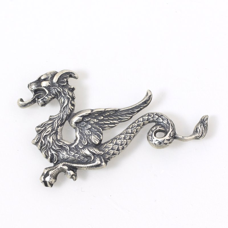 s55904 Metal Pendant - 46 mm Magnificent Wyvern Gryphon - Antiqued Silver
