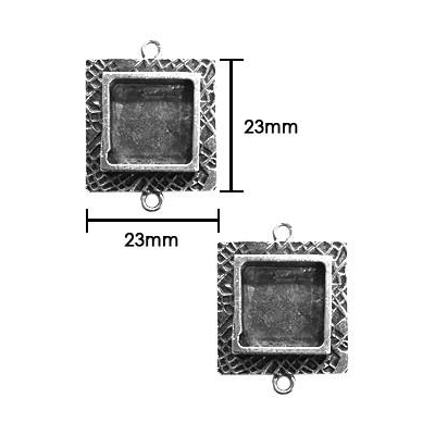 s55905 Resin Bezel - Small Milan Square - Antiqued Silver (Pack of 2)