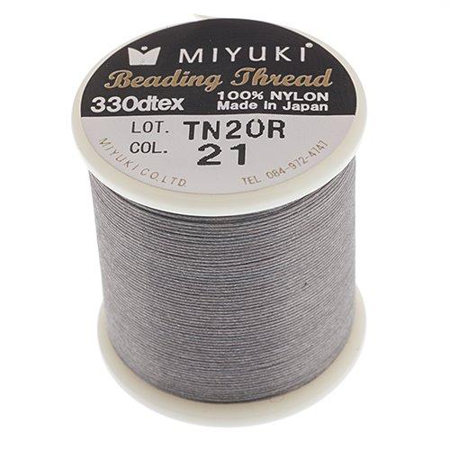 s55915 Thread - Size B Miyuki Nylon Thread - Grey Smoke (Spool)