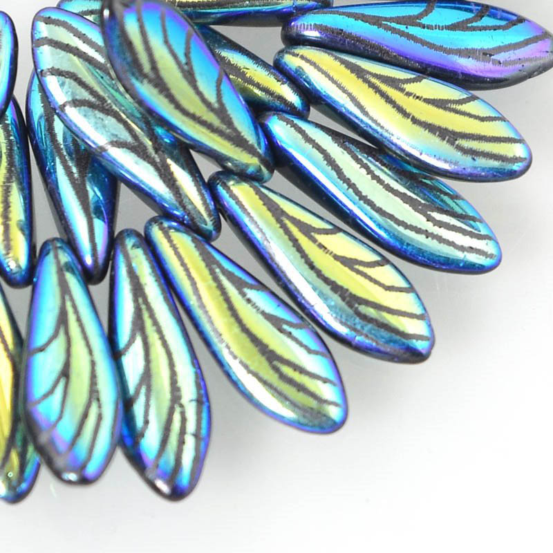 s55931 Glass Daggers - 5 x 16 mm Dagger Beads - Laser Etched - Fantasy Feather (strand)