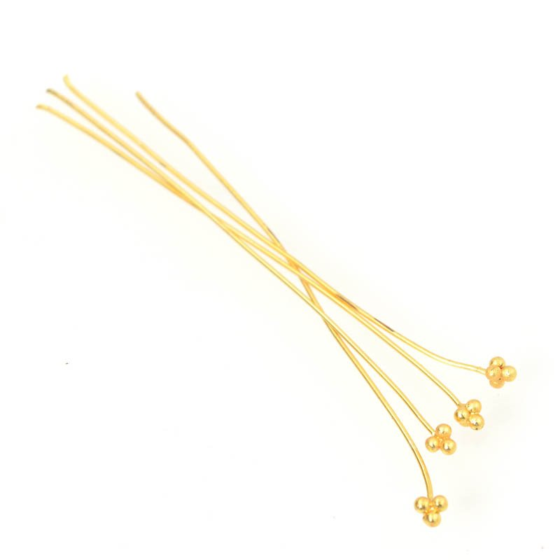 s55936 Findings - Headpins - Stacked Balls - Bright Gold Plated (20)