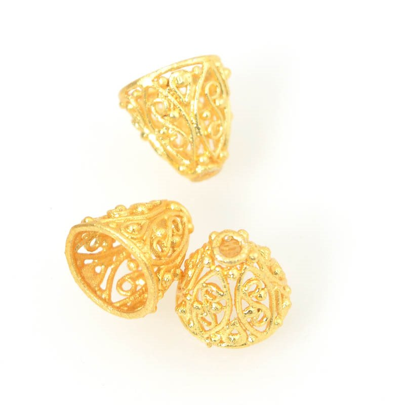 s55939 Findings - Cone - 10 mm ID Filigree Cone - Bright Gold Plated (strand)