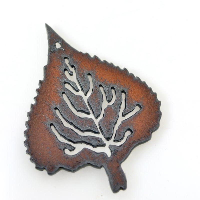 s55950 Metal Pendant - Aspen Leaf - Rusted Iron