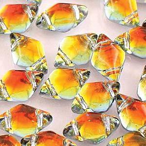 s56004 Czech Shaped Beads - 2 Hole Matubo GemDuo - Backlit Tequila