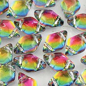 s56005 Czech Shaped Beads - 2 Hole Matubo GemDuo - Backlit Utopia
