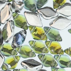 s56008 Czech Shaped Beads - 2 Hole Matubo GemDuo - Backlit Uranium