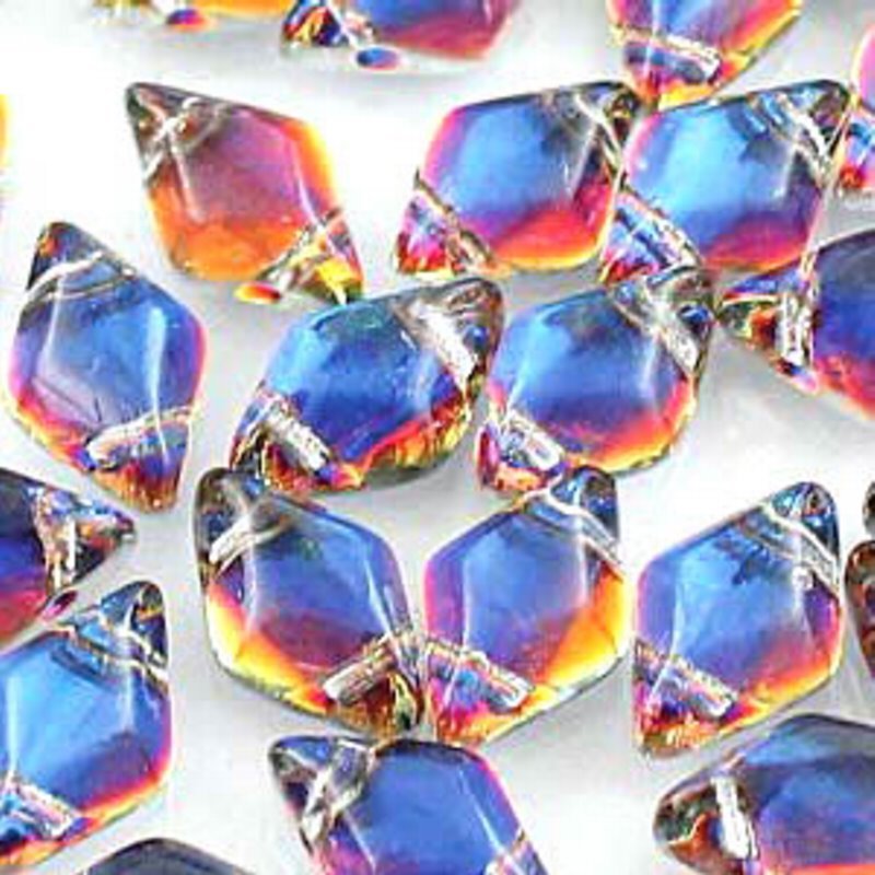 s56009 Czech Shaped Beads - 2 Hole Matubo GemDuo - Backlit Vapor