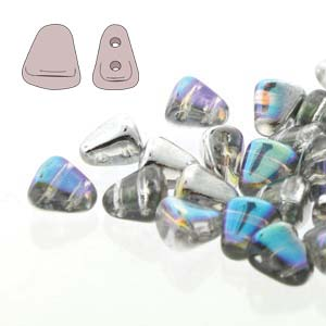 s56016 Czech Shaped Beads - 2 Hole Matubo Nib-Bit - Crystal Silver Rainbow