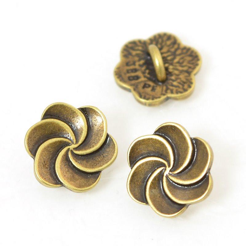 s56025 Metals Buttons - Plumeria Swirl - Antiqued Brass