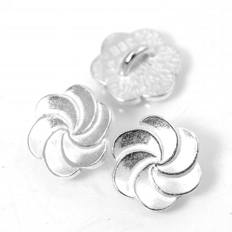 s56030 Metals Buttons - Plumeria Swirl - Bright Silver
