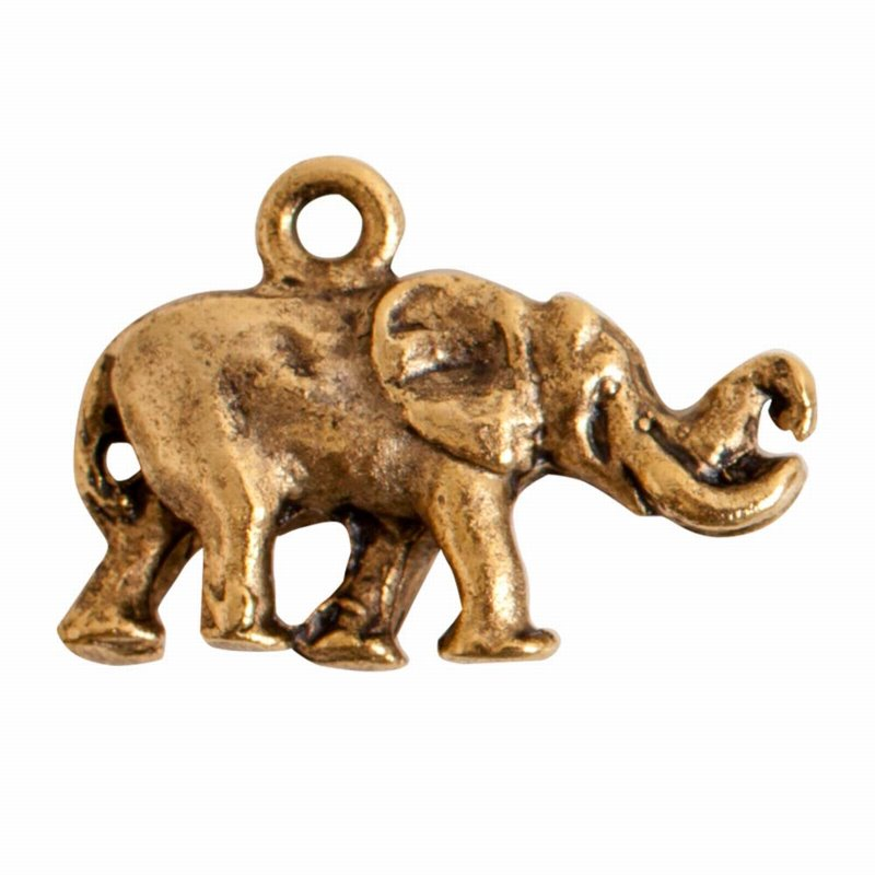 s56052 Charm - Small Elephant - Antique Gold