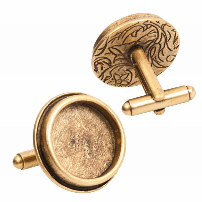 s56054 Findings - Cuff Links - ID 16.6 mm Traditional Round - Antique Gold (pair)