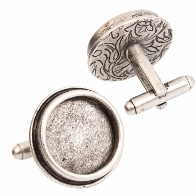s56055 Findings - Cuff Links - ID 16.6 mm Traditional Round - Antiqued Silver (pair)