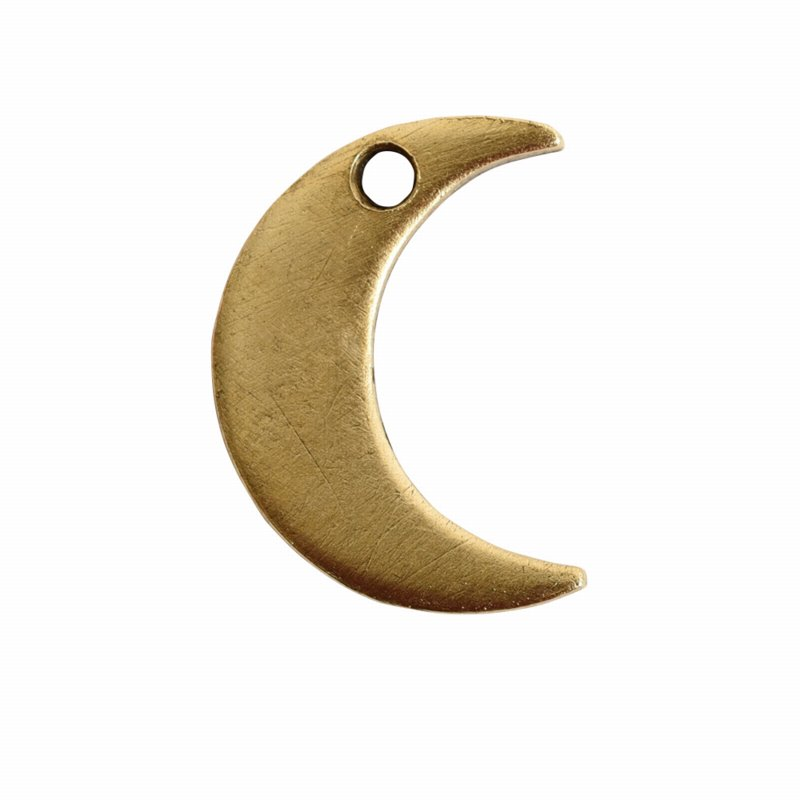 s56057 Charm - Itsy Flat Tag Crescent Moon - Antique Gold