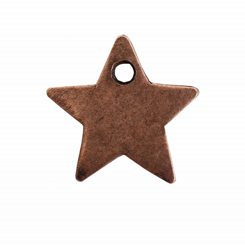 s56062 Charm - Itsy Flat Tag Single Star - Antiqued Copper