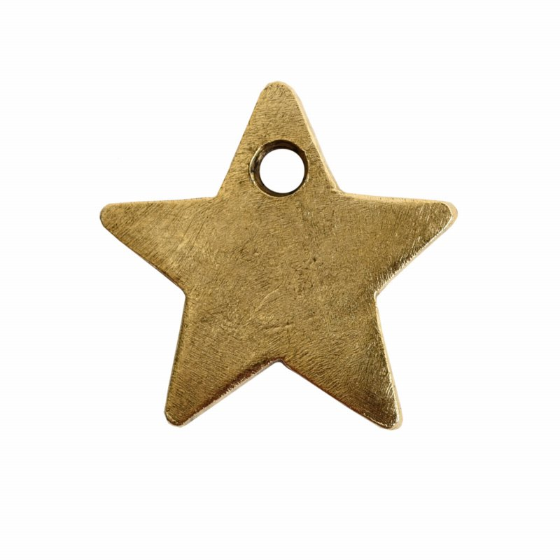 s56063 Charm - Itsy Flat Tag Single Star - Antique Gold