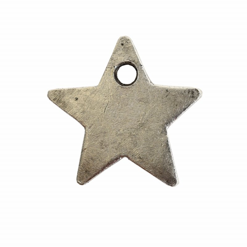 s56064 Charm - Itsy Flat Tag Single Star - Antiqued Silver