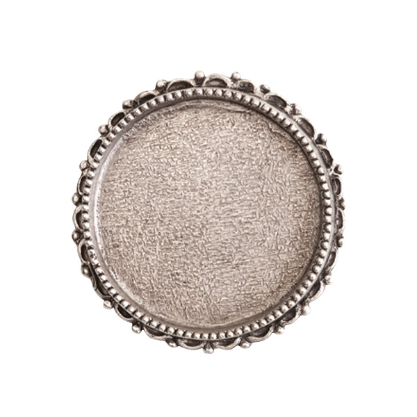 s56068 Finding - Brooch - Ornate Grande Circle - Antiqued Silver