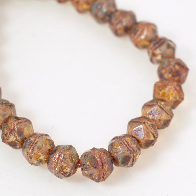 s56159 Glass Beads - 10 mm Antique Styled English-Cut - Picasso Amber (strand 25)