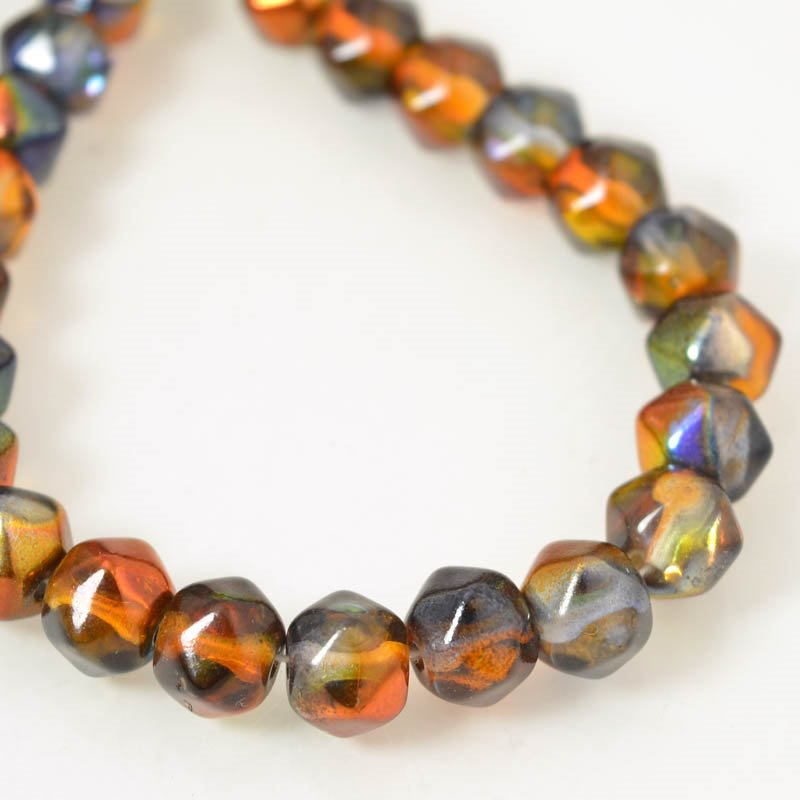 s56164 Glass Beads - 10 mm Antique Styled English-Cut - Magic Amber (strand 25)