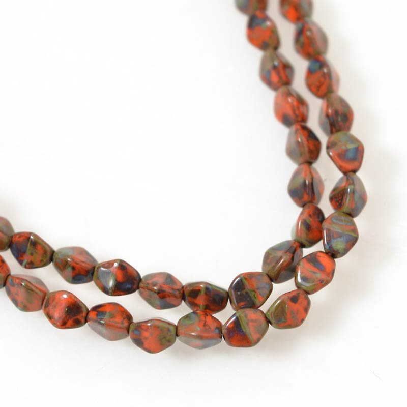 s56191 Glass Beads - 5 mm Pinch Beads - Orange Picasso (strand 50)