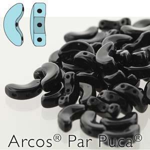s56230 Czech Shaped Beads - 3 Hole Arcos par Puca - Jet