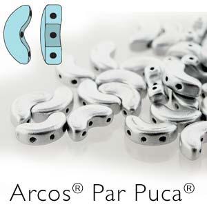 s56238 Czech Shaped Beads - 3 Hole Arcos par Puca - Matte Silver Aluminum