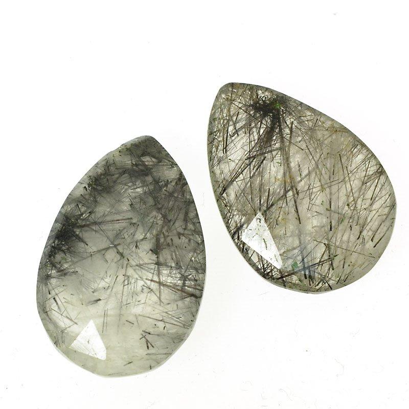 s56373 Stone Pendant - Faceted Pear Drop - Rutile Quartz