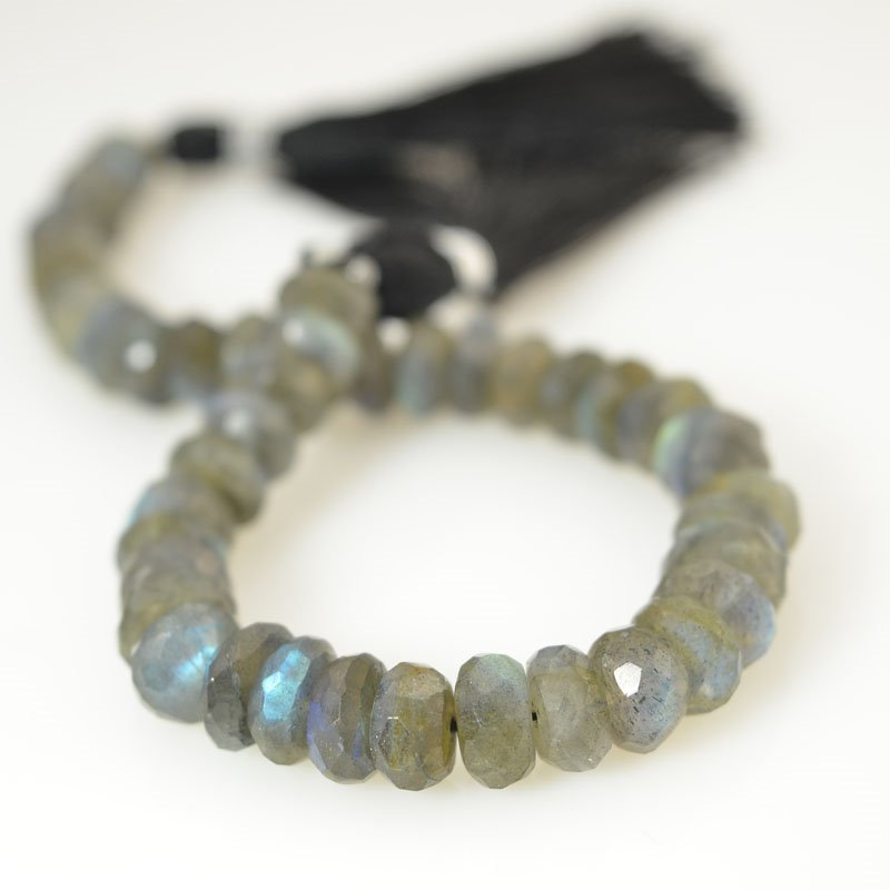 s56374 Stone Beads - Faceted Rondelle Donuts - Labradorite (strand)