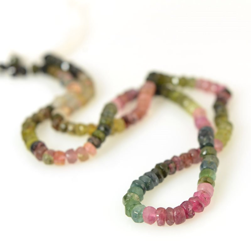 s56376 Stone Beads - Faceted Rondelle Donuts - Tourmaline (strand)