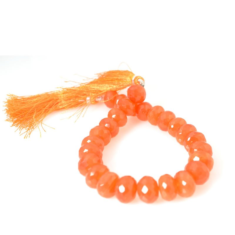 s56377 Stone Beads - 8 mm Faceted Rondelle Donuts - Carnelian (strand)