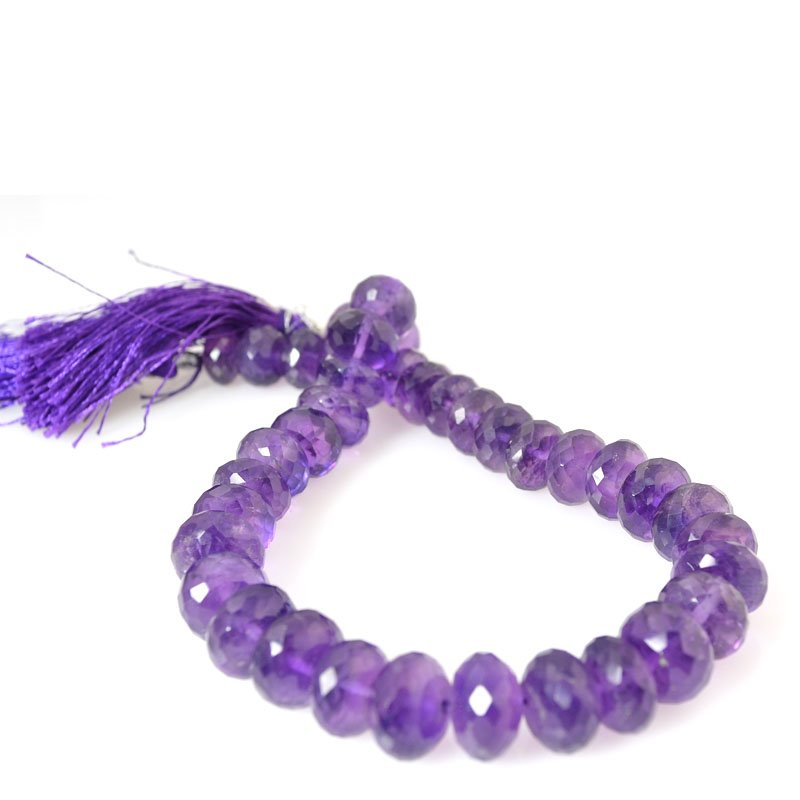 s56378 Stone Beads - Faceted Rondelle Donuts - Amethyst (strand)